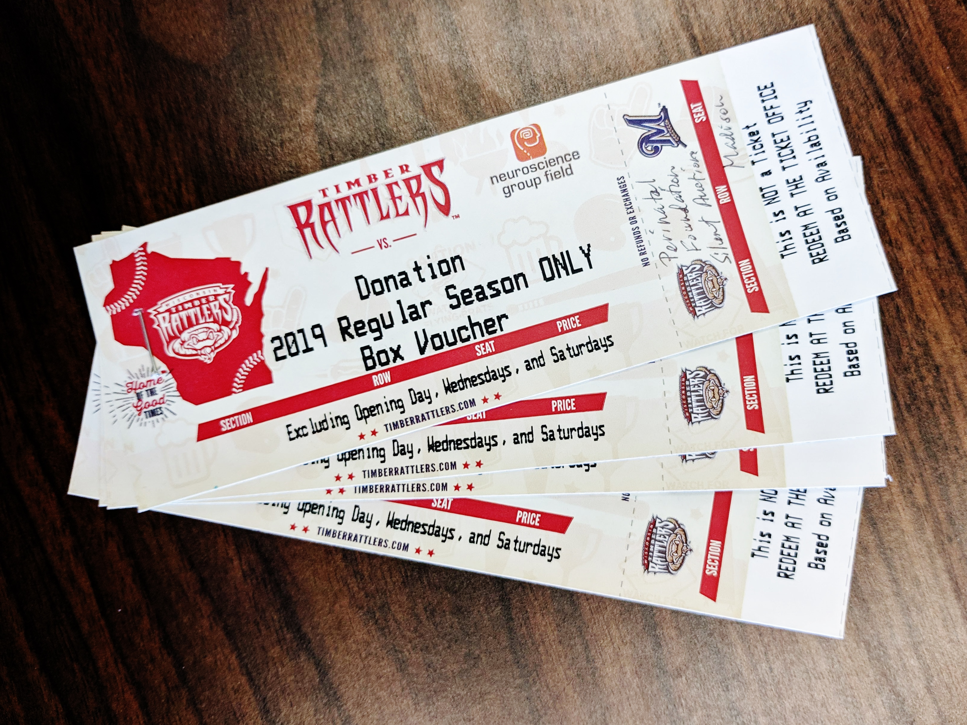 Four Box Seat Tickets for a 2019 Timber Rattlers Game in Appleton, WI