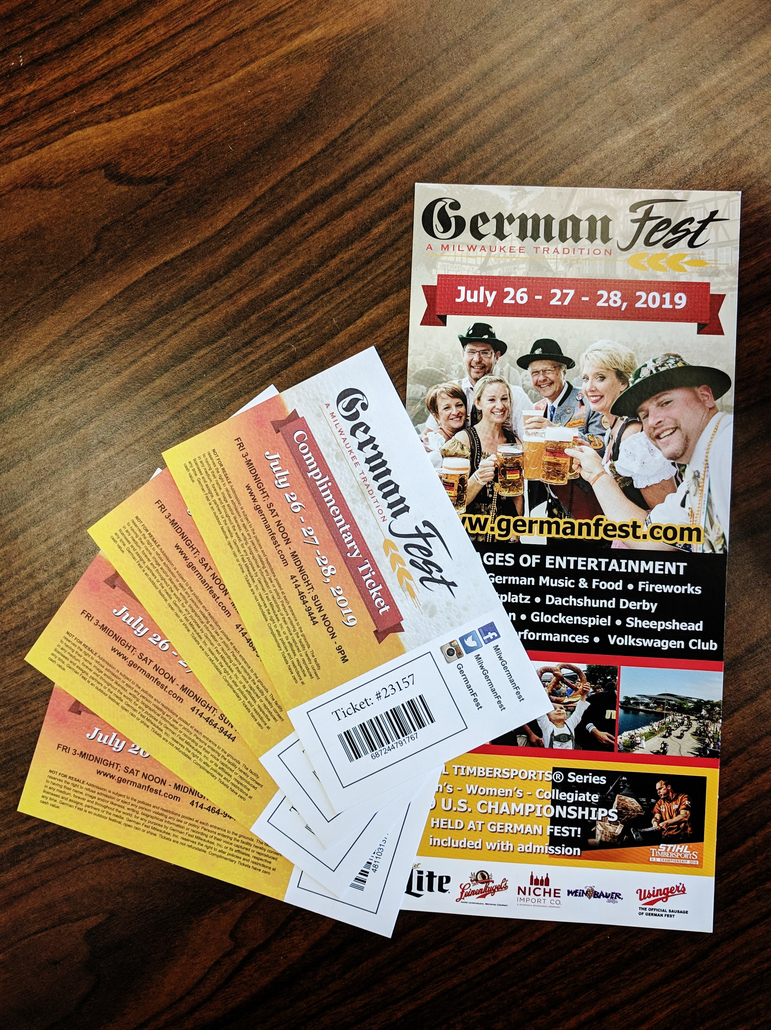 Four Tickets to German Fest in Milwaukee, WI