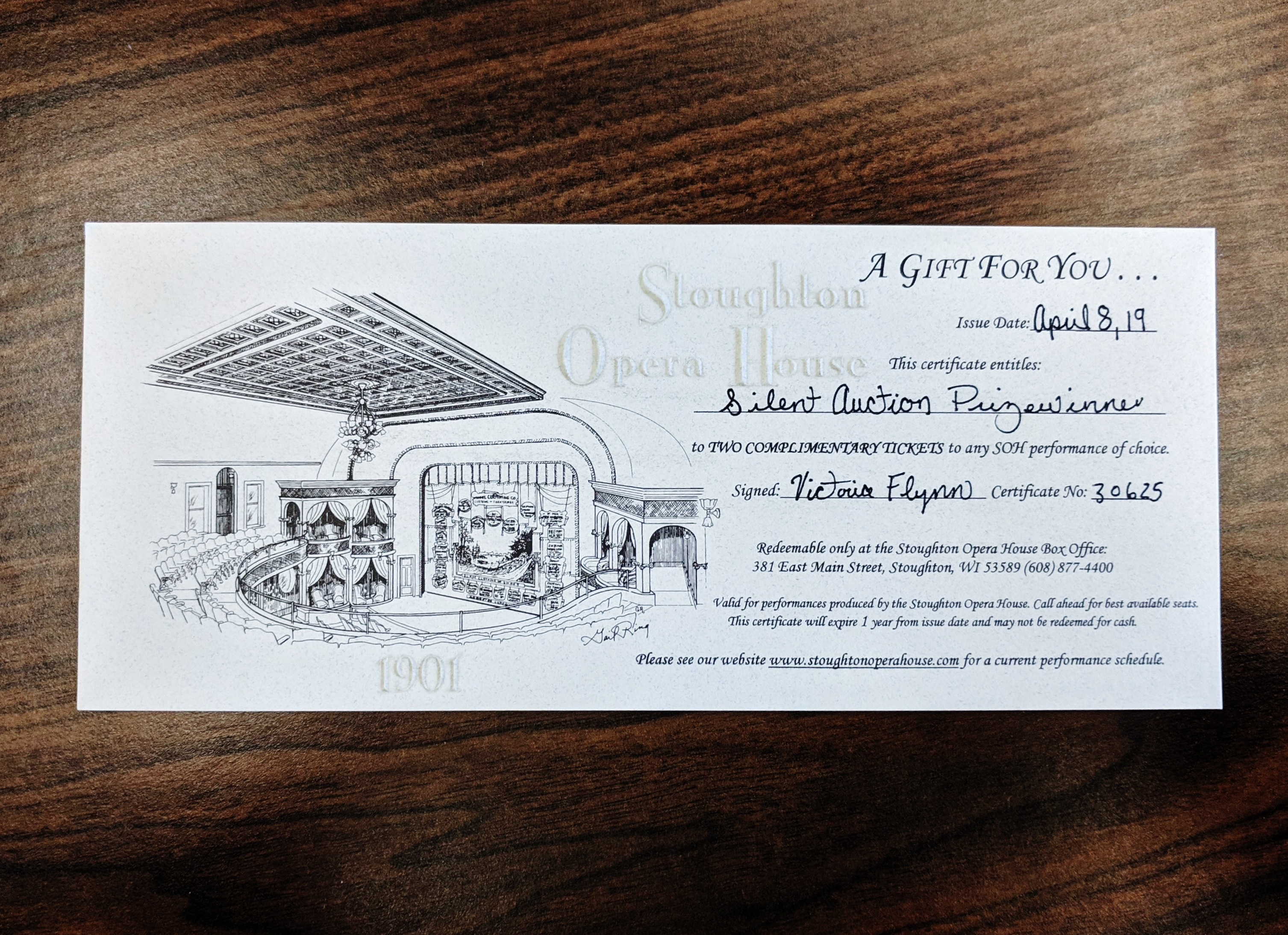 Gift Certificate for Two Tickets to the Stoughton Opera House
