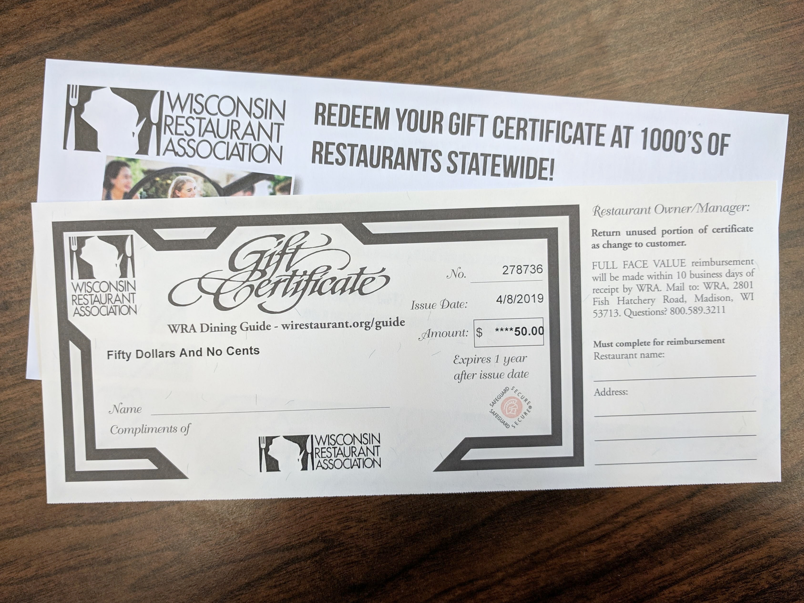 $50 Gift Certificate for Wisconsin Restaurant Association