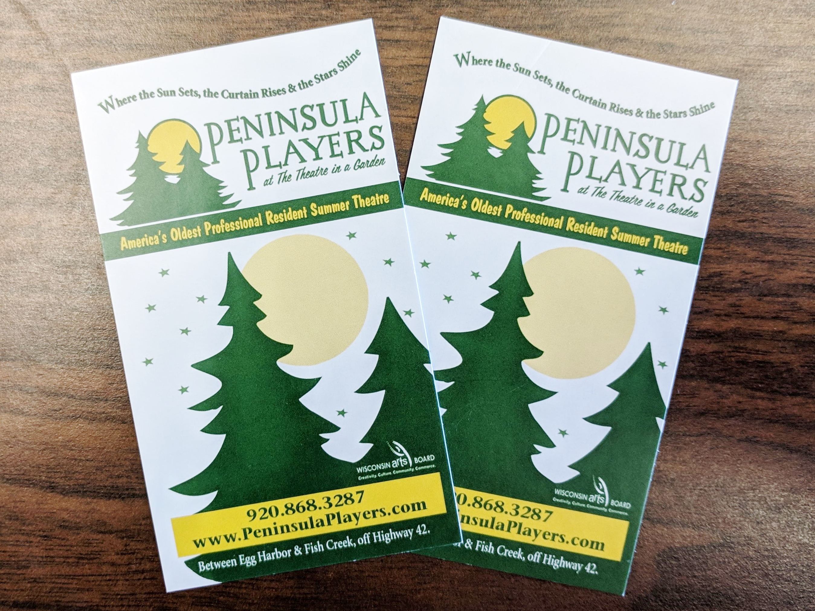 Two Tickets to the Peninsula Players at the Theatre in a Garden